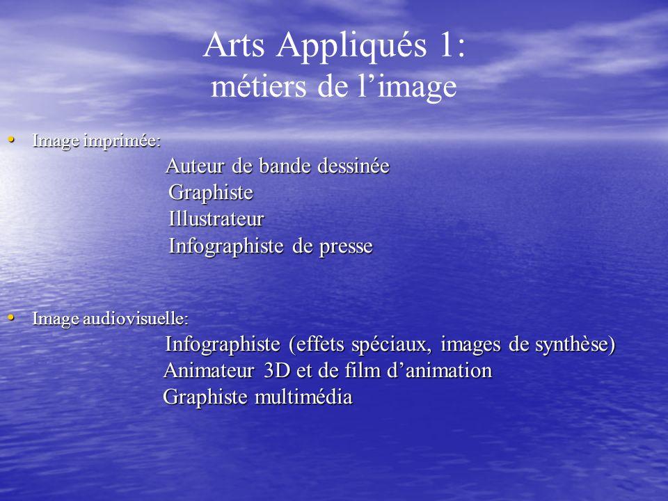 Arts Appliqués 1: métiers de limage Image imprimée: Image imprimée: Auteur de bande dessinée Auteur de bande dessinée Graphiste Graphiste Illustrateur