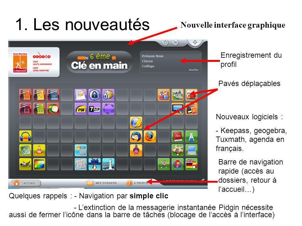 1. Les nouveautés Nouvelle interface graphique Enregistrement du profil Pavés déplaçables Nouveaux logiciels : - Keepass, geogebra, Tuxmath, agenda en