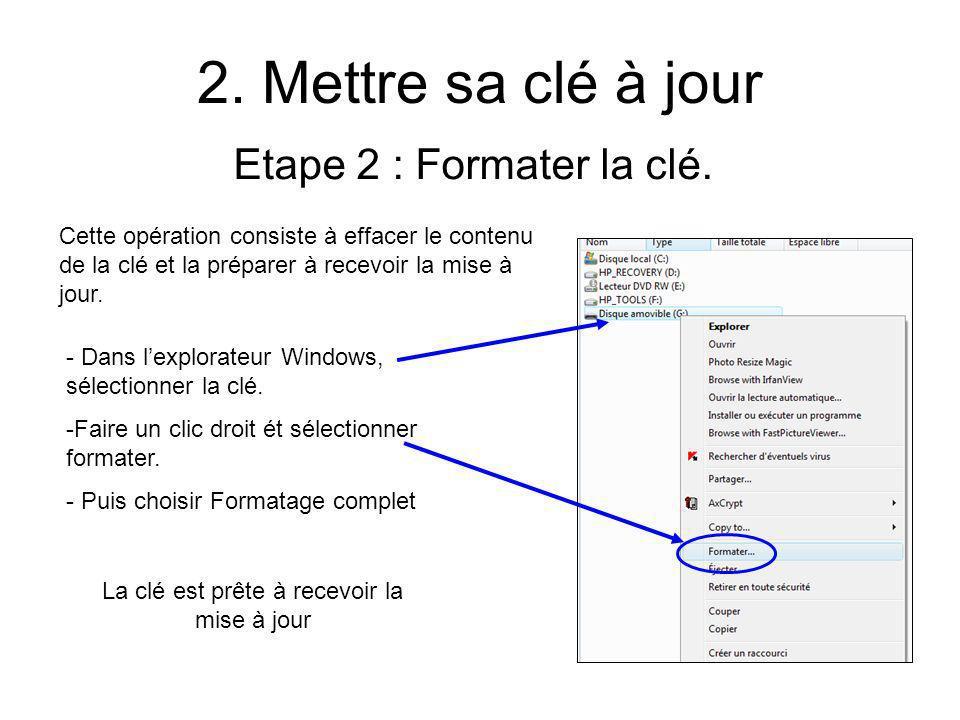 2. Mettre sa clé à jour Etape 2 : Formater la clé.