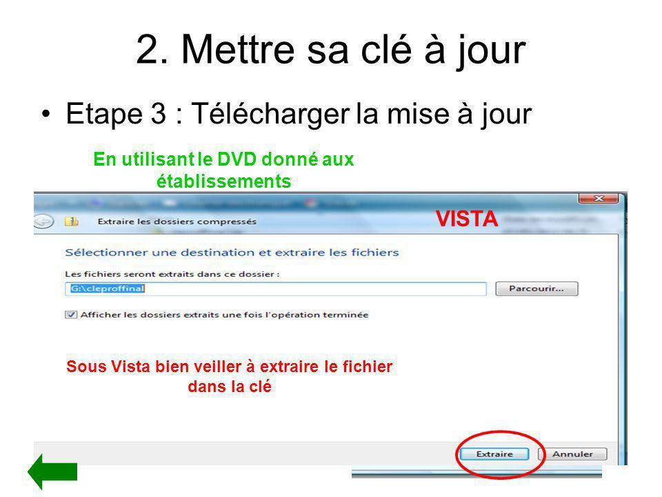 2. Mettre sa clé à jour Etape 3 : Télécharger la mise à jour En utilisant le DVD donné aux établissements - Le Fichier ainsi collé dans la clé apparai