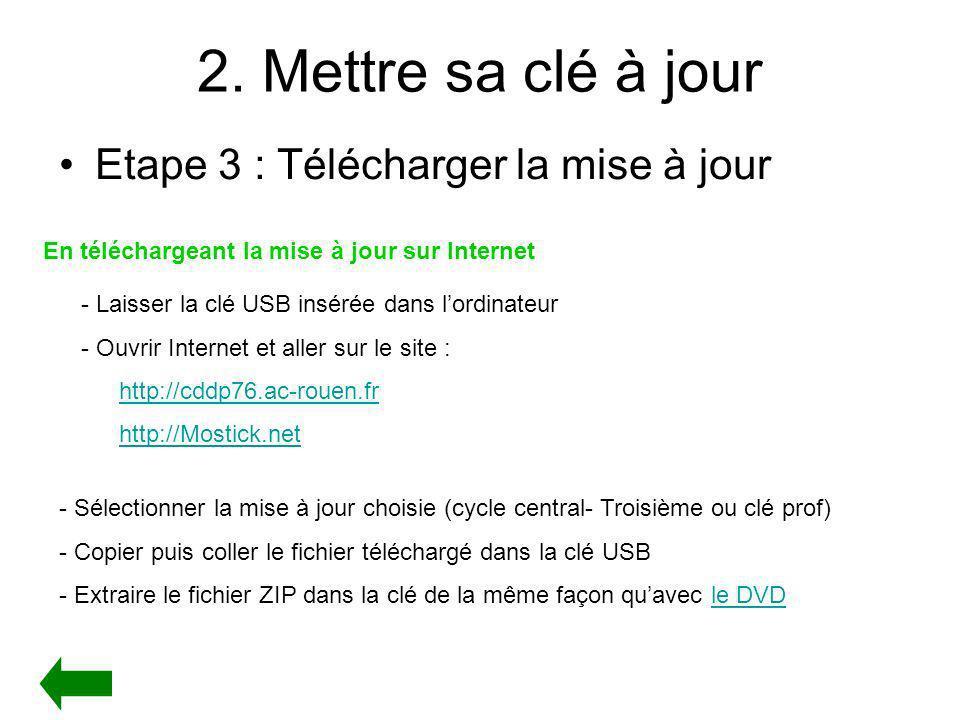 2. Mettre sa clé à jour Etape 3 : Télécharger la mise à jour En téléchargeant la mise à jour sur Internet - Laisser la clé USB insérée dans lordinateu
