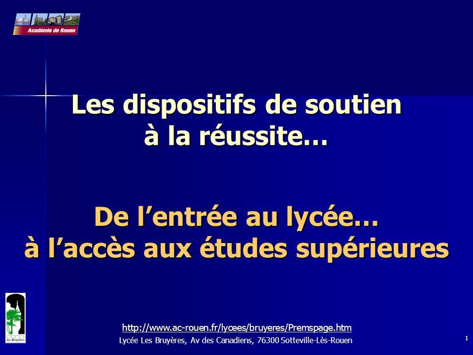 1 Les dispositifs de soutien à la réussite… De lentrée au lycée… à laccès aux études supérieures Lycée Les Bruyères, Av des Canadiens, 76300 Sottevill