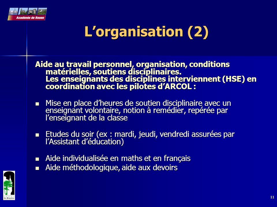 11 Lorganisation (2) Aide au travail personnel, organisation, conditions matérielles, soutiens disciplinaires. Les enseignants des disciplines intervi