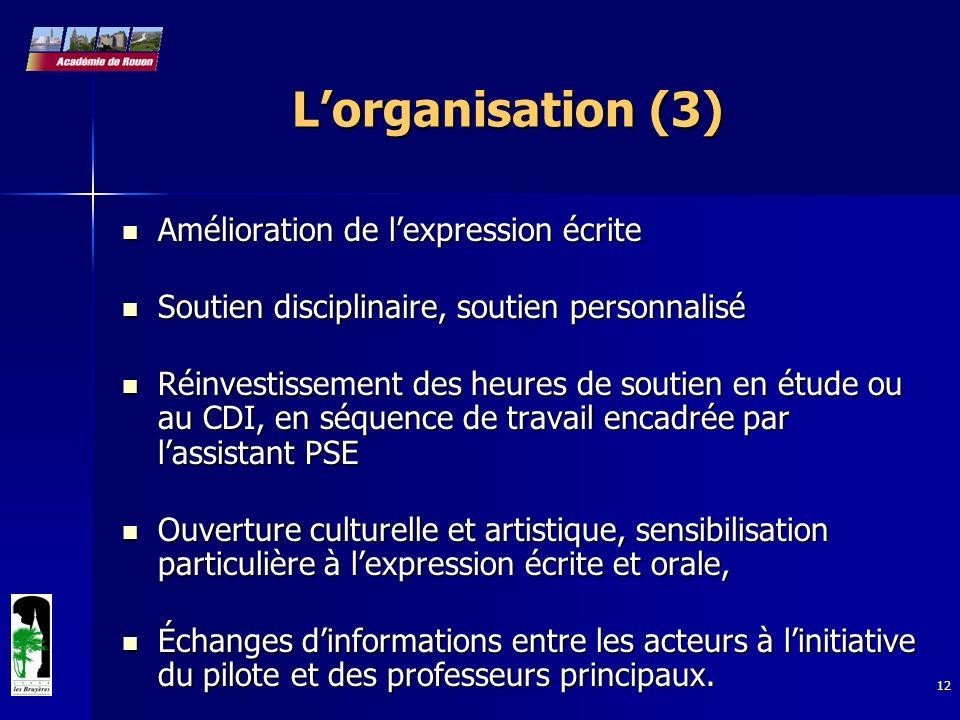 12 Lorganisation (3) Amélioration de lexpression écrite Amélioration de lexpression écrite Soutien disciplinaire, soutien personnalisé Soutien discipl