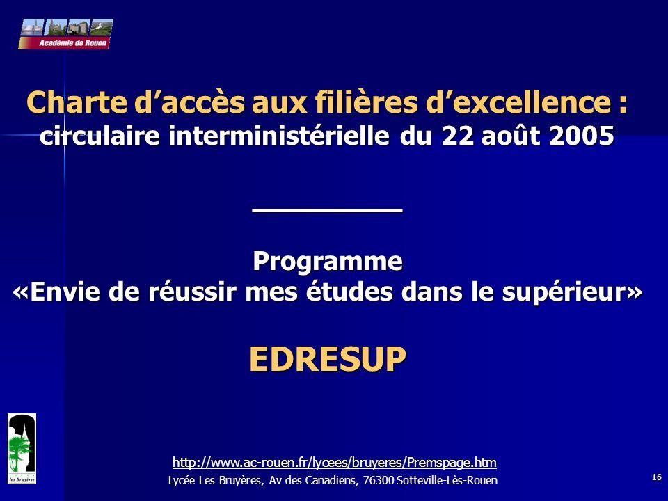 16 Lycée Les Bruyères, Av des Canadiens, 76300 Sotteville-Lès-Rouen Charte daccès aux filières dexcellence : circulaire interministérielle du 22 août