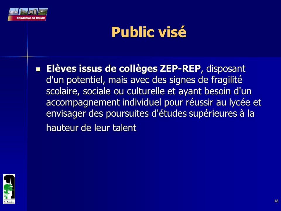 18 Public visé Elèves issus de collèges ZEP-REP, disposant d'un potentiel, mais avec des signes de fragilité scolaire, sociale ou culturelle et ayant