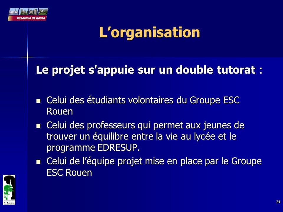24 Lorganisation Le projet s'appuie sur un double tutorat : Celui des étudiants volontaires du Groupe ESC Rouen Celui des étudiants volontaires du Gro