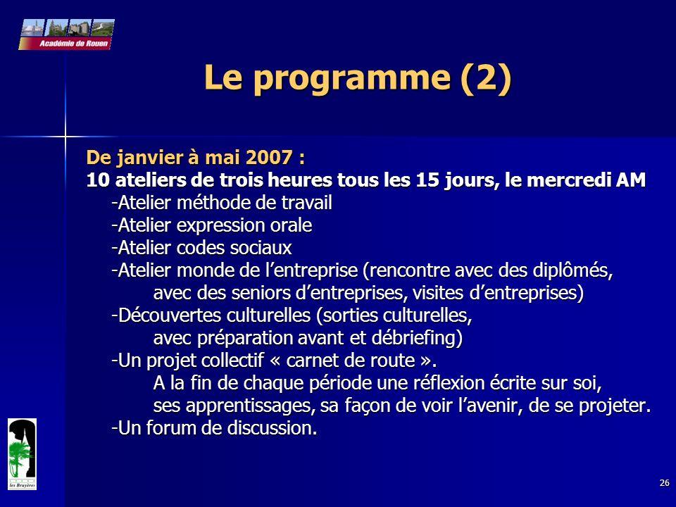 26 Le programme (2) De janvier à mai 2007 : 10 ateliers de trois heures tous les 15 jours, le mercredi AM -Atelier méthode de travail -Atelier express