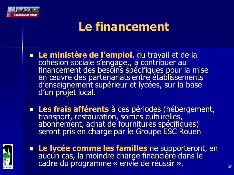 27 Le financement Le ministère de lemploi, du travail et de la cohésion sociale sengage,, à contribuer au financement des besoins spécifiques pour la