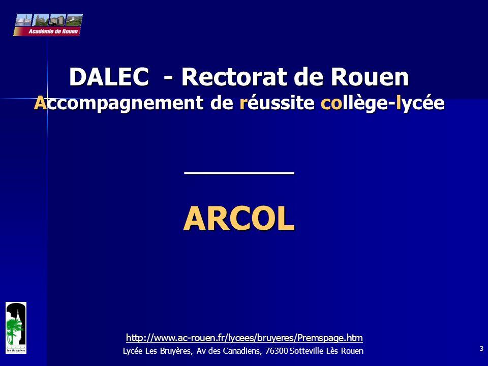 3 Lycée Les Bruyères, Av des Canadiens, 76300 Sotteville-Lès-Rouen DALEC - Rectorat de Rouen Accompagnement de réussite collège-lycée _________ARCOL h