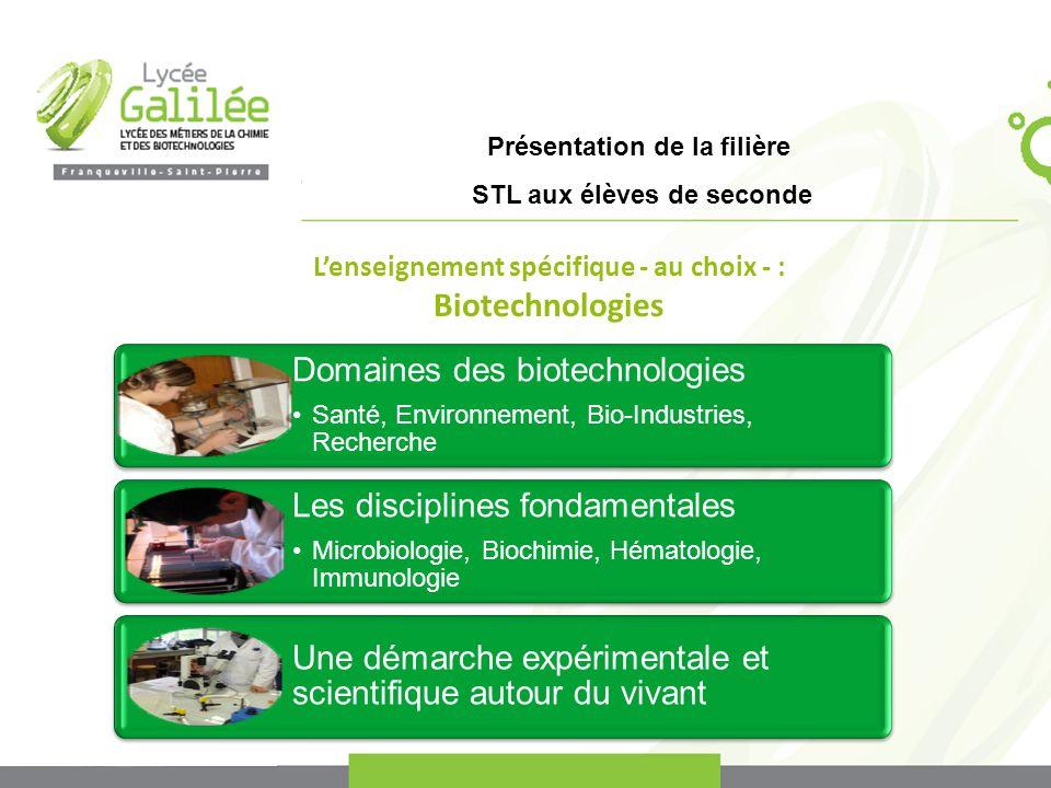 Présentation de la filière STL aux élèves de seconde Domaines des biotechnologies Santé, Environnement, Bio-Industries, Recherche Les disciplines fond