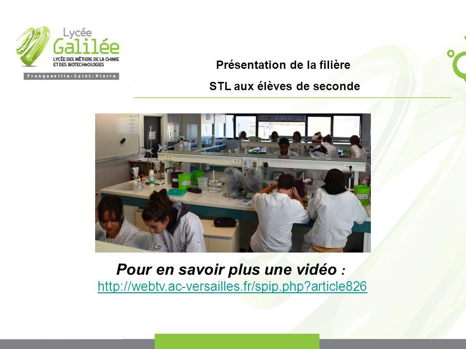 Présentation de la filière STL aux élèves de seconde Pour en savoir plus une vidéo : http://webtv.ac-versailles.fr/spip.php?article826
