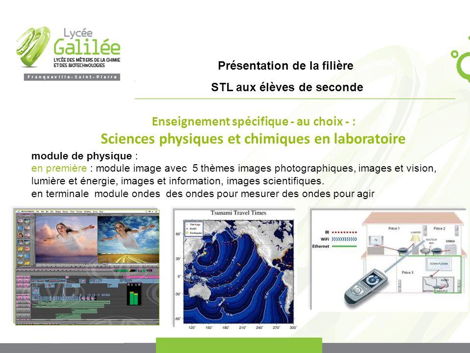 Présentation de la filière STL aux élèves de seconde module de physique : en première : module image avec 5 thèmes images photographiques, images et v
