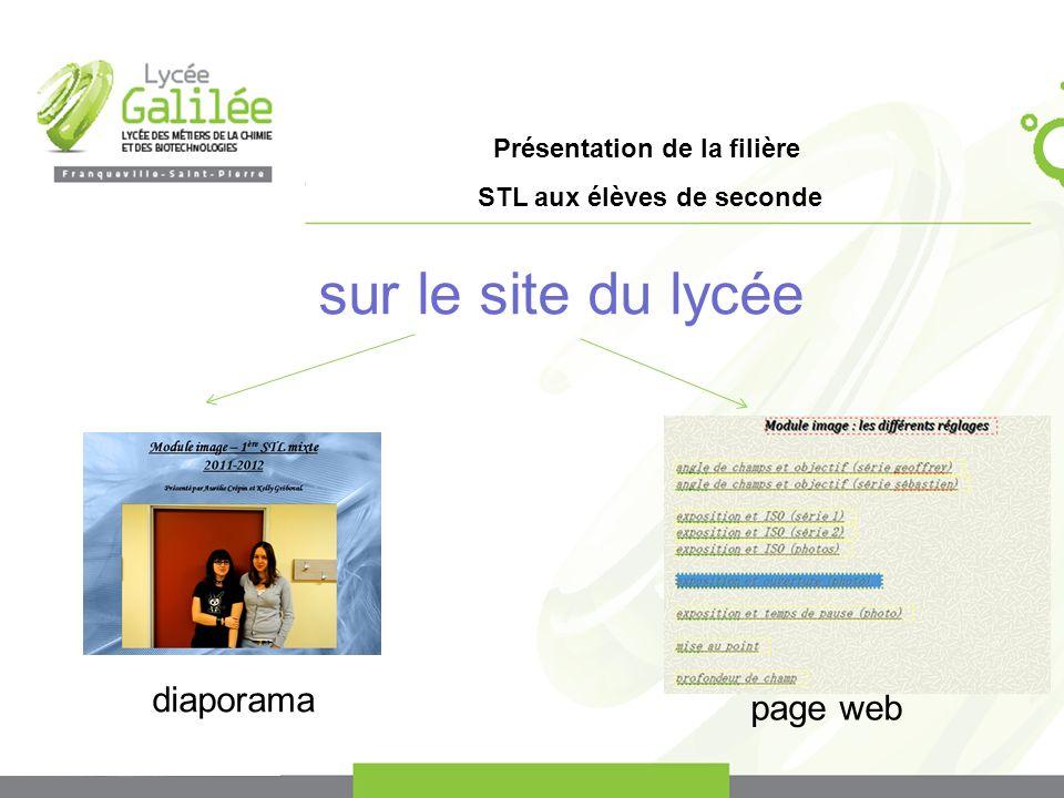 Présentation de la filière STL aux élèves de seconde sur le site du lycée diaporama page web