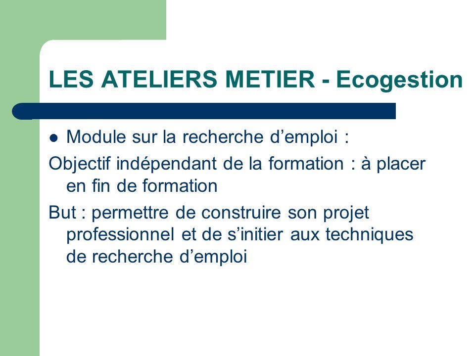 LES ATELIERS METIER - Ecogestion Module sur la recherche demploi : Objectif indépendant de la formation : à placer en fin de formation But : permettre
