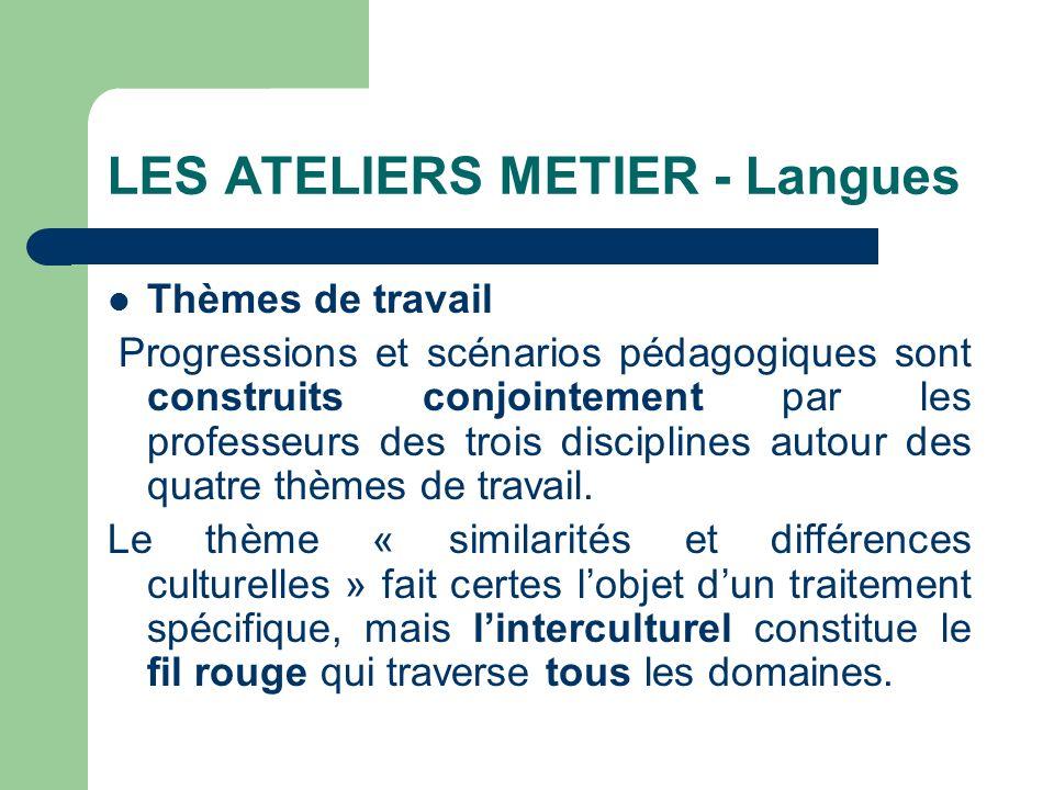 LES ATELIERS METIER - Langues Thèmes de travail Progressions et scénarios pédagogiques sont construits conjointement par les professeurs des trois dis