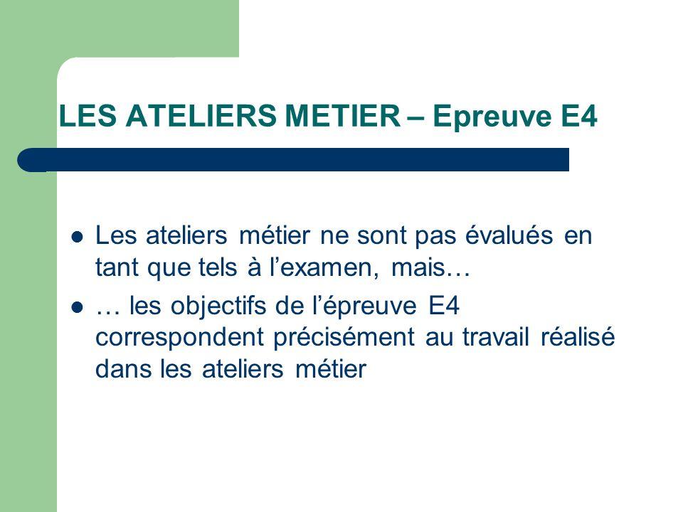 LES ATELIERS METIER – Epreuve E4 Les ateliers métier ne sont pas évalués en tant que tels à lexamen, mais… … les objectifs de lépreuve E4 corresponden
