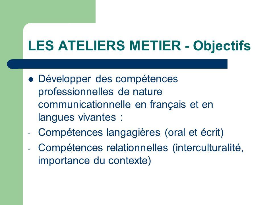 LES ATELIERS METIER - Objectifs Développer des compétences professionnelles de nature communicationnelle en français et en langues vivantes : - Compét