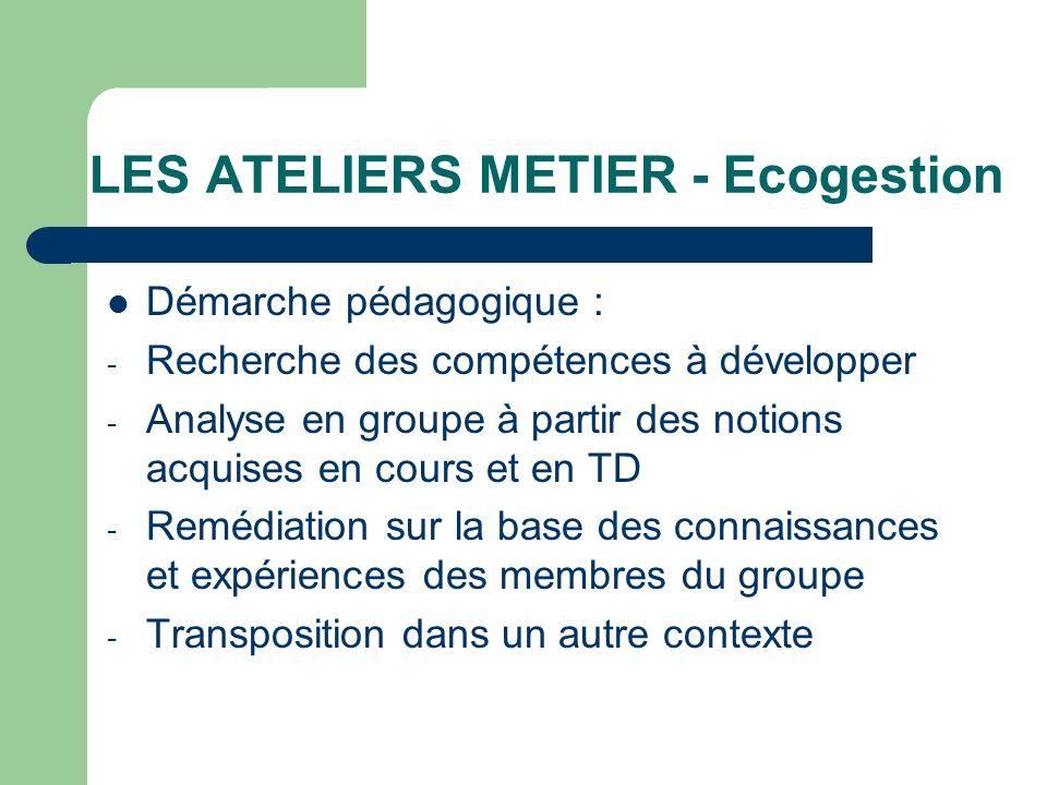LES ATELIERS METIER - Ecogestion Démarche pédagogique : - Recherche des compétences à développer - Analyse en groupe à partir des notions acquises en