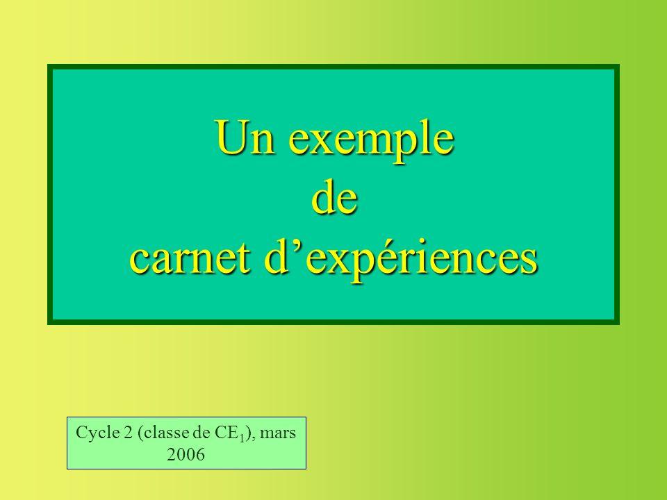 Un exemple de carnet dexpériences Cycle 2 (classe de CE 1 ), mars 2006
