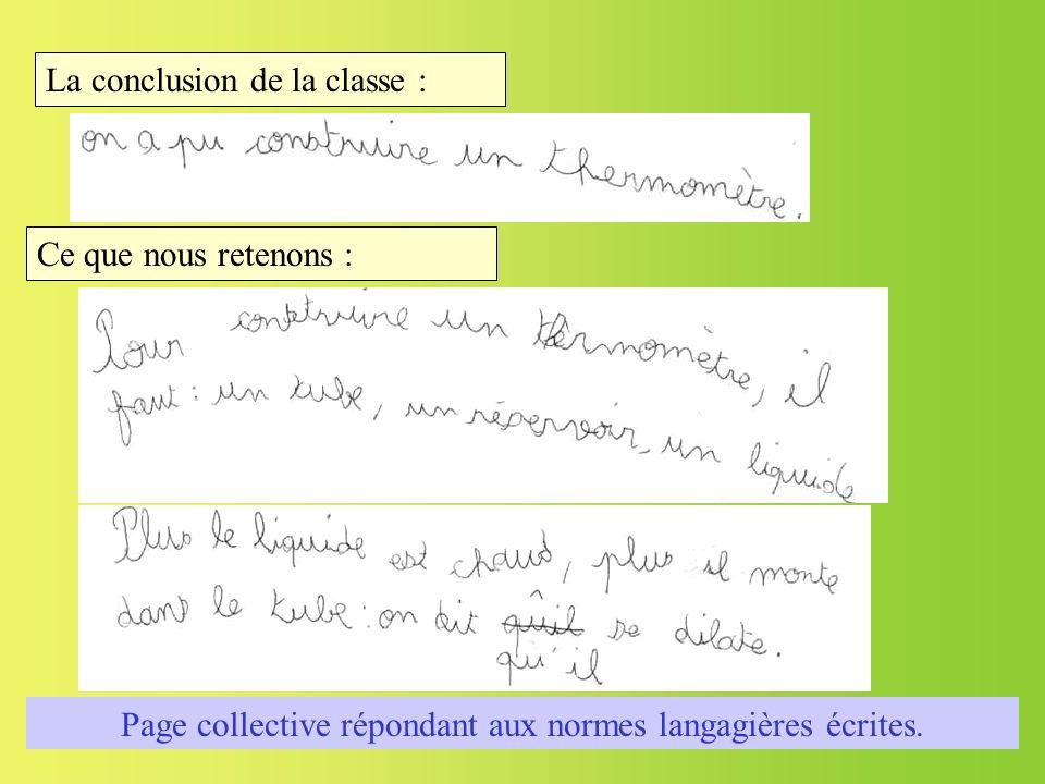 La conclusion de la classe : Page collective répondant aux normes langagières écrites. Ce que nous retenons :