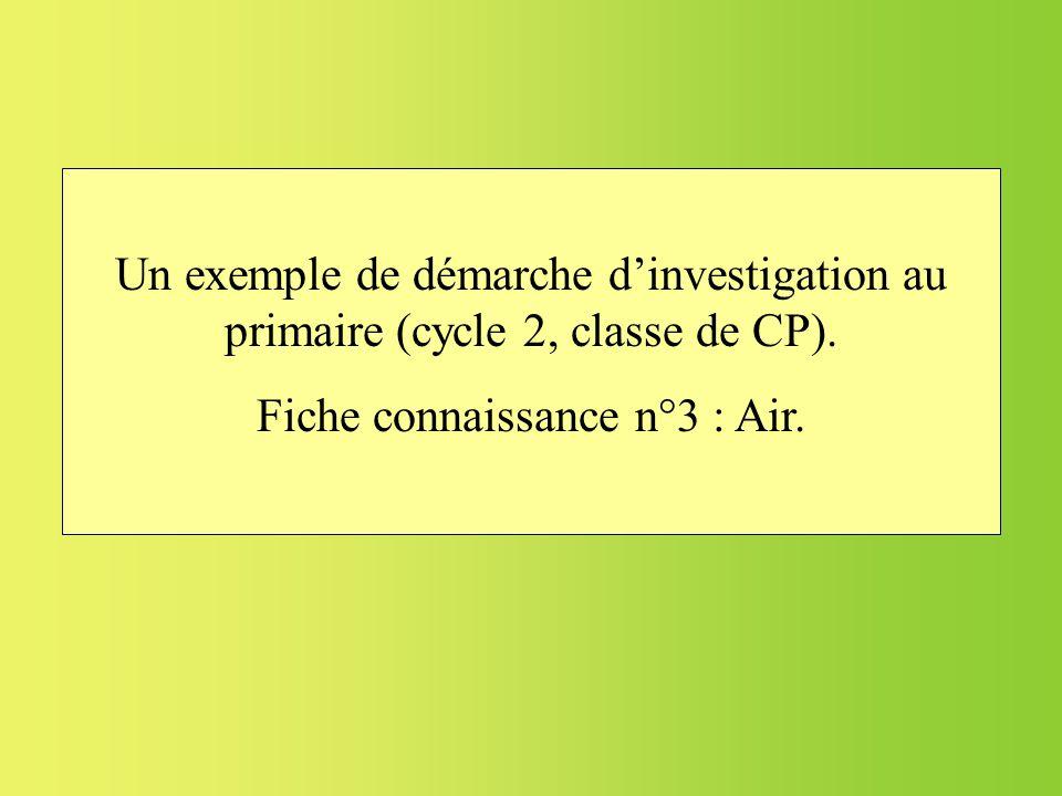 Un exemple de démarche dinvestigation au primaire (cycle 2, classe de CP). Fiche connaissance n°3 : Air.