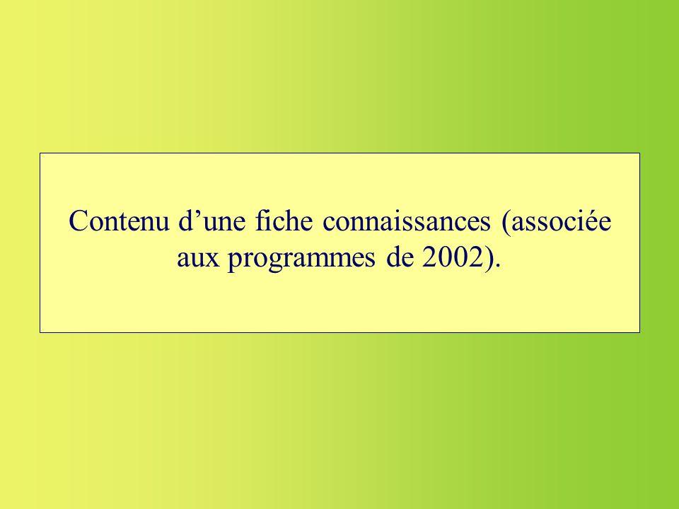 Contenu dune fiche connaissances (associée aux programmes de 2002).