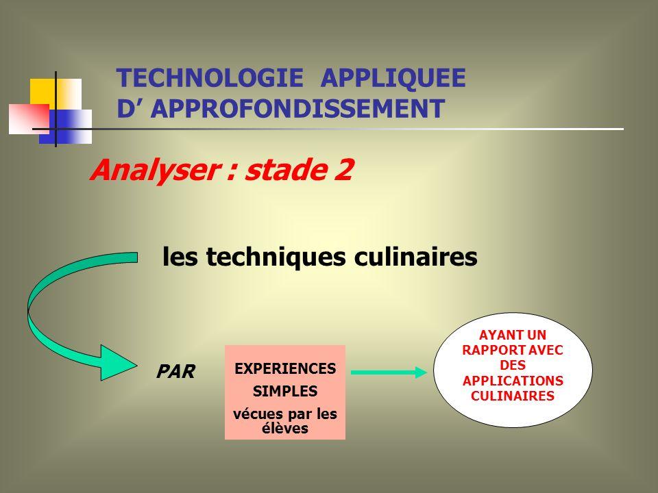 Analyser : stade 2 les techniques culinaires EXPERIENCES SIMPLES vécues par les élèves AYANT UN RAPPORT AVEC DES APPLICATIONS CULINAIRES PAR TECHNOLOGIE APPLIQUEE D APPROFONDISSEMENT