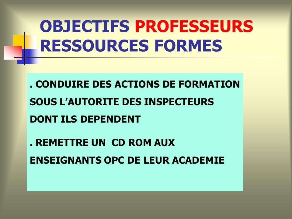 OBJECTIFS PROFESSEURS RESSOURCES FORMES.