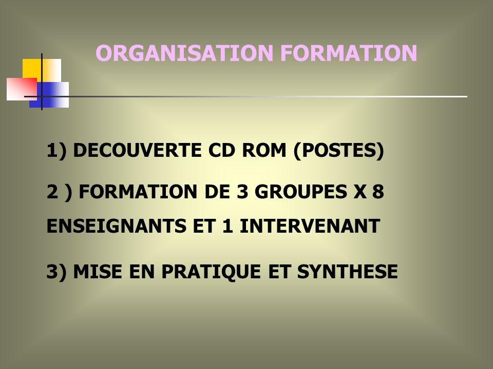 1) DECOUVERTE CD ROM (POSTES) 2 ) FORMATION DE 3 GROUPES X 8 ENSEIGNANTS ET 1 INTERVENANT 3) MISE EN PRATIQUE ET SYNTHESE ORGANISATION FORMATION