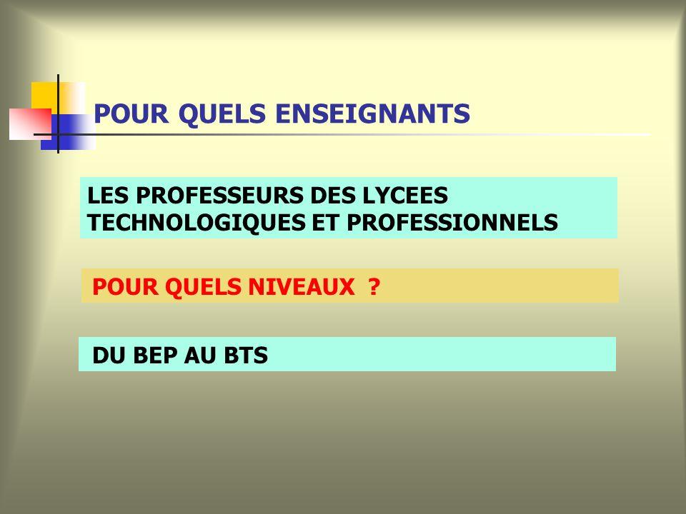 POUR QUELS ENSEIGNANTS POUR QUELS NIVEAUX .