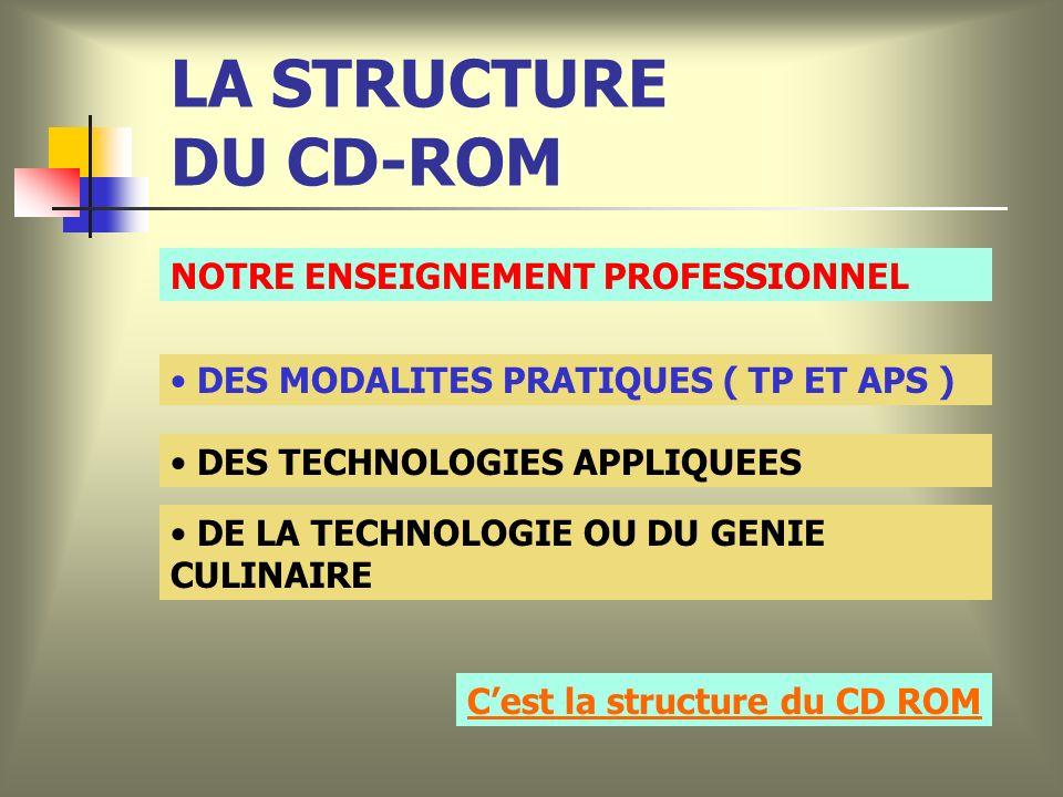 LA STRUCTURE DU CD-ROM NOTRE ENSEIGNEMENT PROFESSIONNEL DES MODALITES PRATIQUES ( TP ET APS ) DES TECHNOLOGIES APPLIQUEES DE LA TECHNOLOGIE OU DU GENIE CULINAIRE Cest la structure du CD ROM