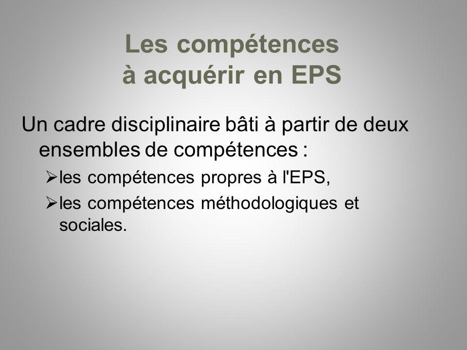 Les compétences à acquérir en EPS Un cadre disciplinaire bâti à partir de deux ensembles de compétences : les compétences propres à l'EPS, les compéte
