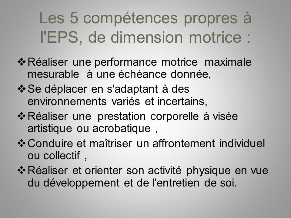 Les 5 compétences propres à l'EPS, de dimension motrice : Réaliser une performance motrice maximale mesurable à une échéance donnée, Se déplacer en s'