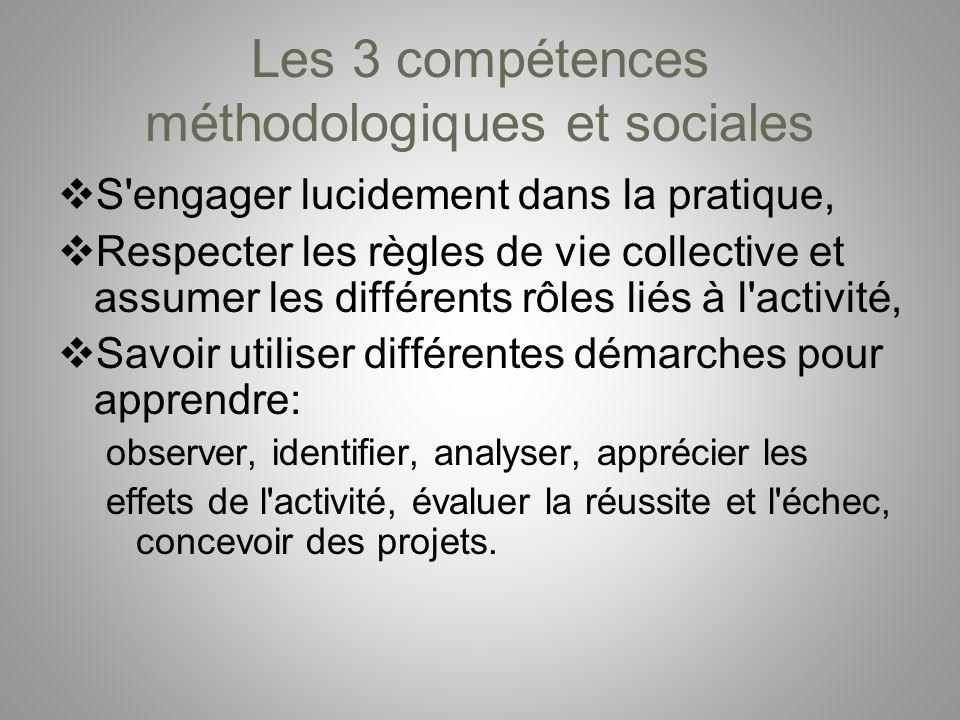 Les 3 compétences méthodologiques et sociales S'engager lucidement dans la pratique, Respecter les règles de vie collective et assumer les différents