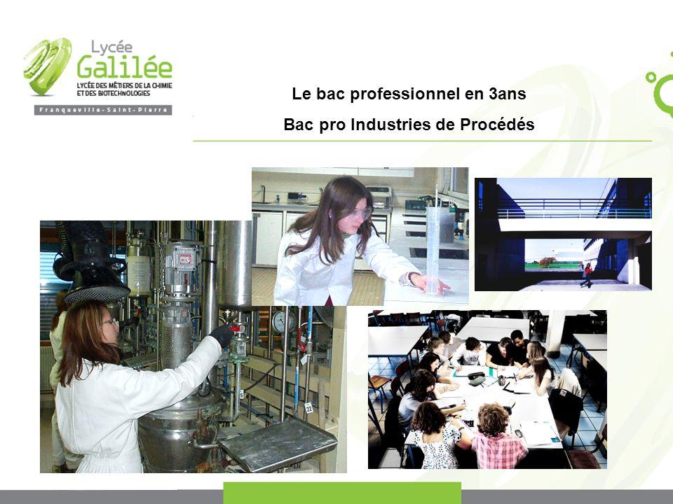 Le bac professionnel en 3ans Bac pro Industries de Procédés