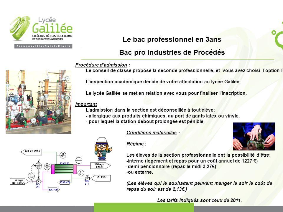 Le bac professionnel en 3ans Bac pro Industries de Procédés Procédure dadmission : Le conseil de classe propose la seconde professionnelle, et vous avez choisi loption IP.