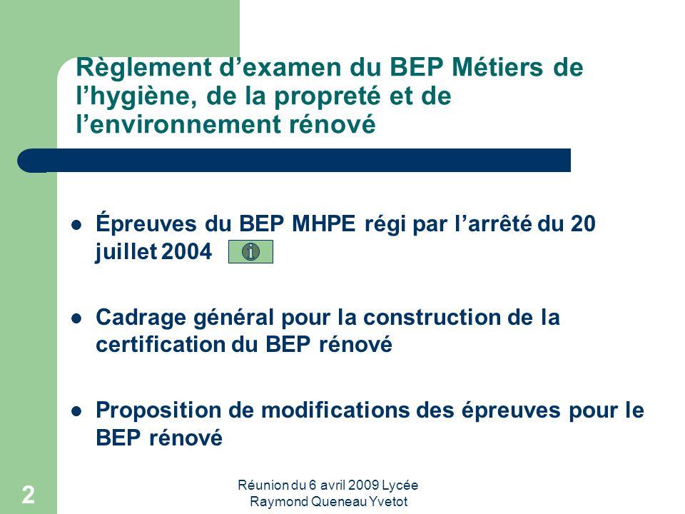 Réunion du 6 avril 2009 Lycée Raymond Queneau Yvetot 2 Règlement dexamen du BEP Métiers de lhygiène, de la propreté et de lenvironnement rénové Épreuv