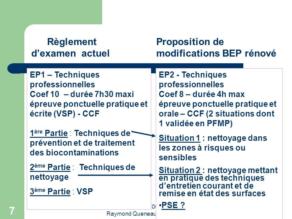 Réunion du 6 avril 2009 Lycée Raymond Queneau Yvetot 7 Règlement dexamen actuel Proposition de modifications BEP rénové EP1 – Techniques professionnel