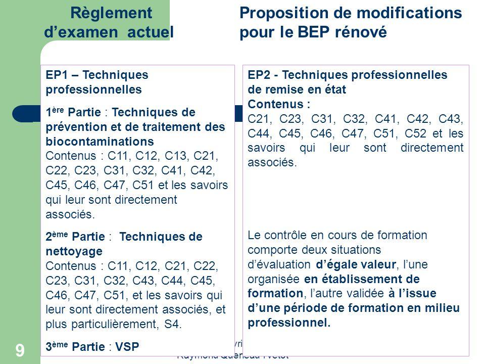 Réunion du 6 avril 2009 Lycée Raymond Queneau Yvetot 9 Règlement dexamen actuel Proposition de modifications pour le BEP rénové EP1 – Techniques profe