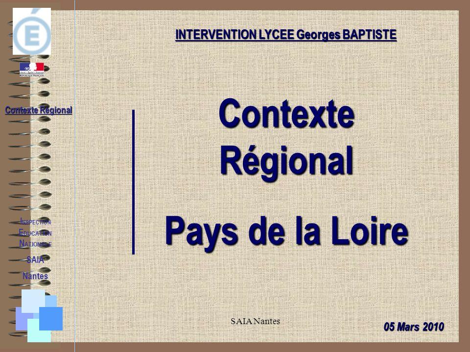 SAIA Nantes I NSPECTION E DUCATION N ATIONALE SAIA Nantes Contexte Régional INTERVENTION LYCEE Georges BAPTISTE Contexte Régional Pays de la Loire 05 Mars 2010