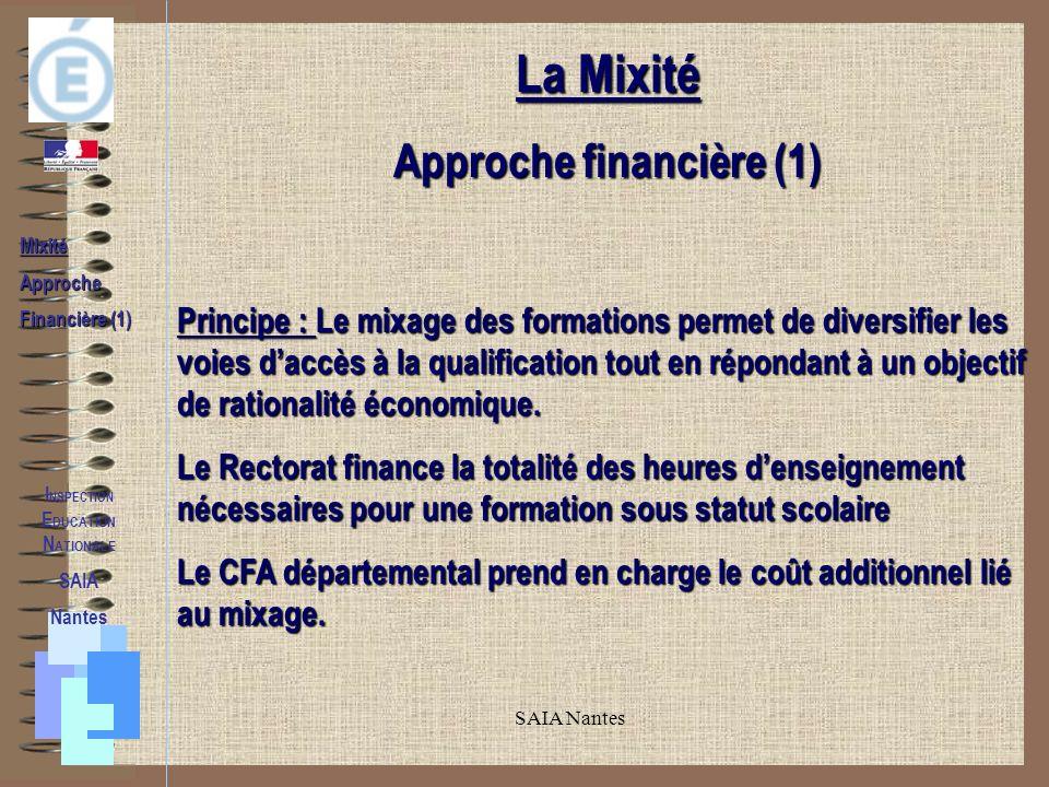 SAIA Nantes MixitéApproche Financière (1) La Mixité Approche financière (1) Principe : Le mixage des formations permet de diversifier les voies daccès à la qualification tout en répondant à un objectif de rationalité économique.