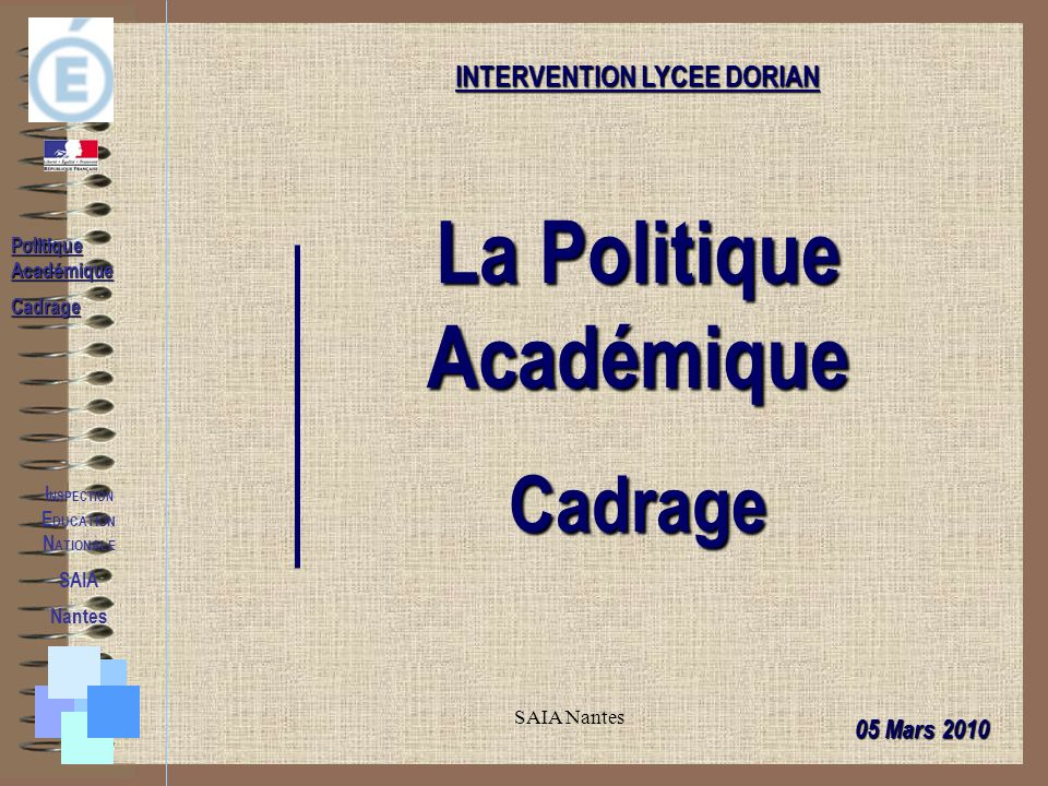 SAIA Nantes I NSPECTION E DUCATION N ATIONALE SAIA Nantes Politique Académique Cadrage INTERVENTION LYCEE DORIAN La Politique Académique Cadrage 05 Mars 2010