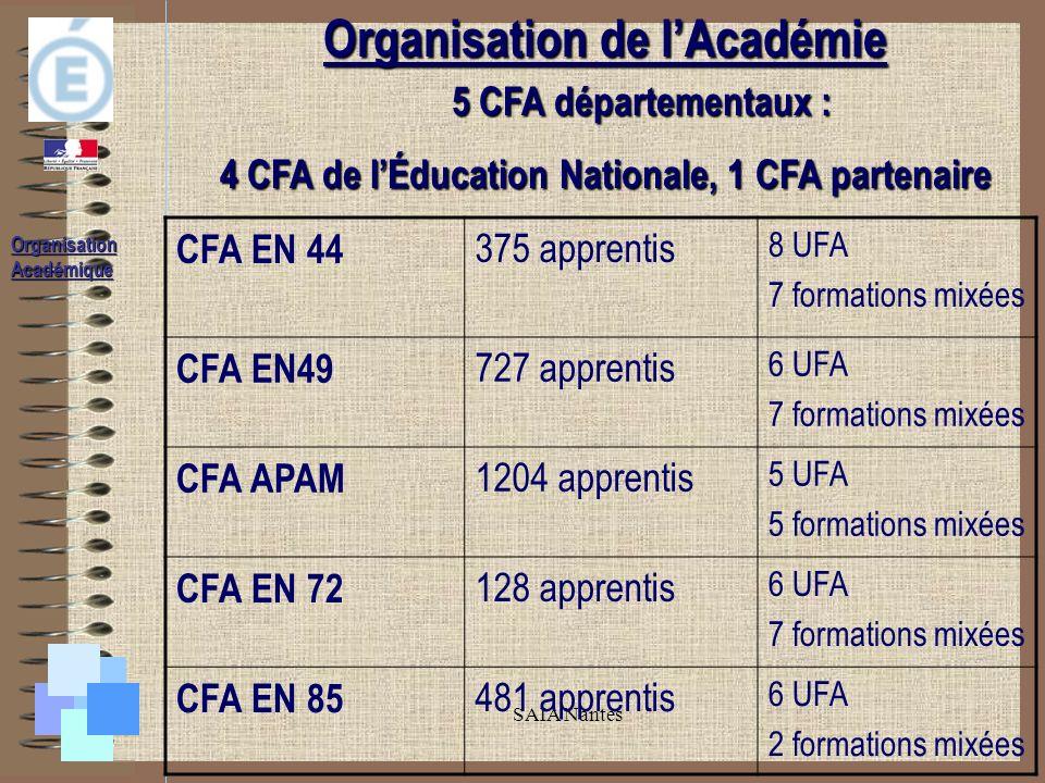 SAIA Nantes Organisation de lAcadémie 5 CFA départementaux : 5 CFA départementaux : 4 CFA de lÉducation Nationale, 1 CFA partenaire CFA EN 44 375 apprentis 8 UFA 7 formations mixées CFA EN49 727 apprentis 6 UFA 7 formations mixées CFA APAM 1204 apprentis 5 UFA 5 formations mixées CFA EN 72 128 apprentis 6 UFA 7 formations mixées CFA EN 85 481 apprentis 6 UFA 2 formations mixées Organisation Académique