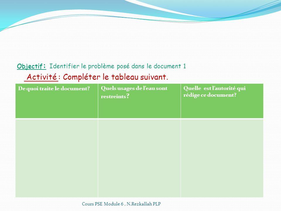Objectif : Identifier le problème posé dans le document 1 Activité : Compléter le tableau suivant. De quoi traite le document?Quels usages de leau son
