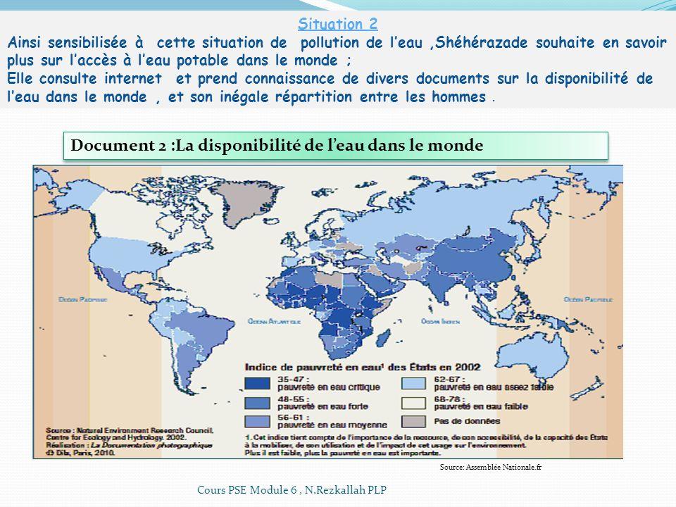 Source: Assemblée Nationale.fr Document 2 :La disponibilité de leau dans le monde Situation 2 Ainsi sensibilisée à cette situation de pollution de lea