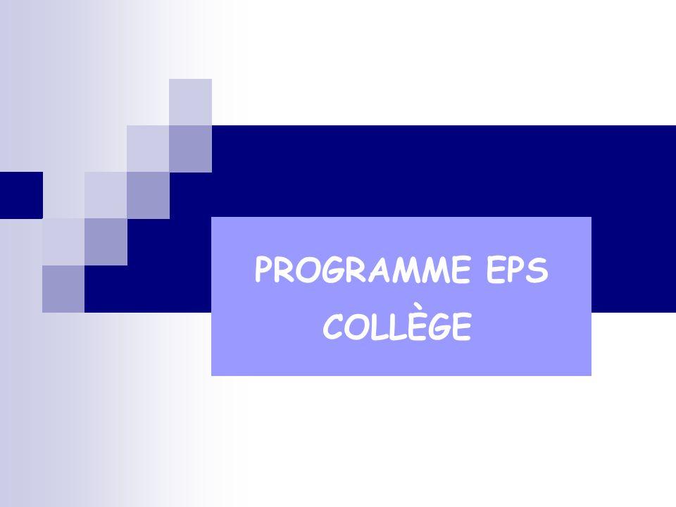 PROGRAMME EPS COLLÈGE
