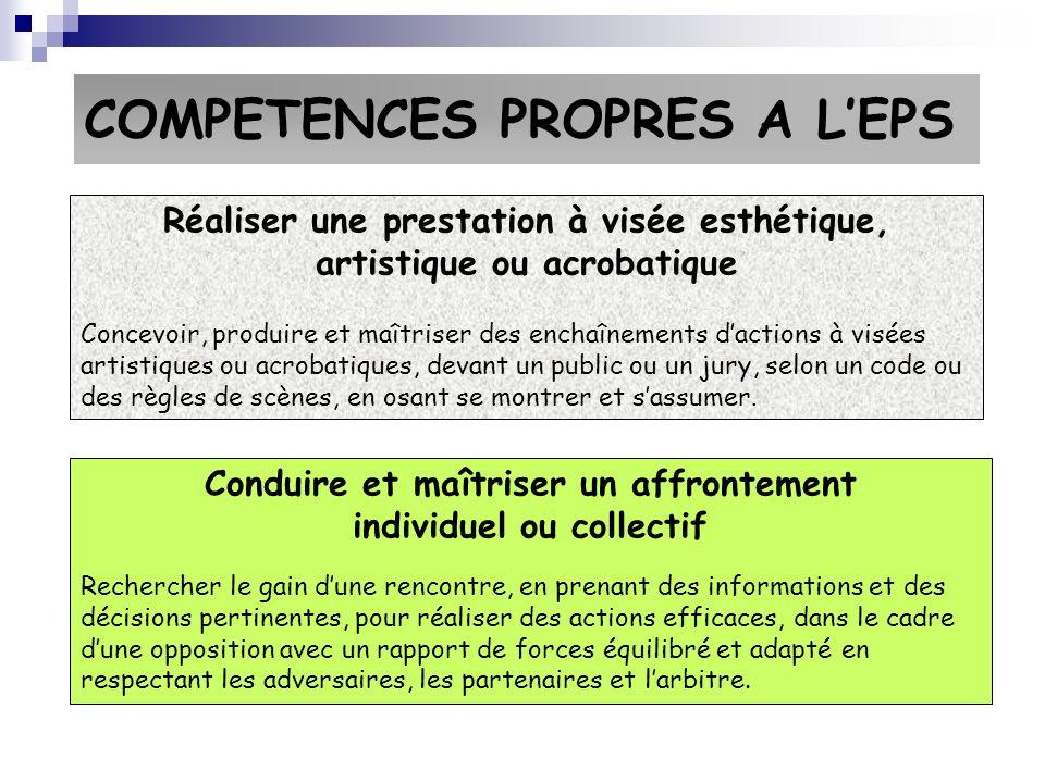 COMPETENCES PROPRES A LEPS Réaliser une prestation à visée esthétique, artistique ou acrobatique Concevoir, produire et maîtriser des enchaînements da