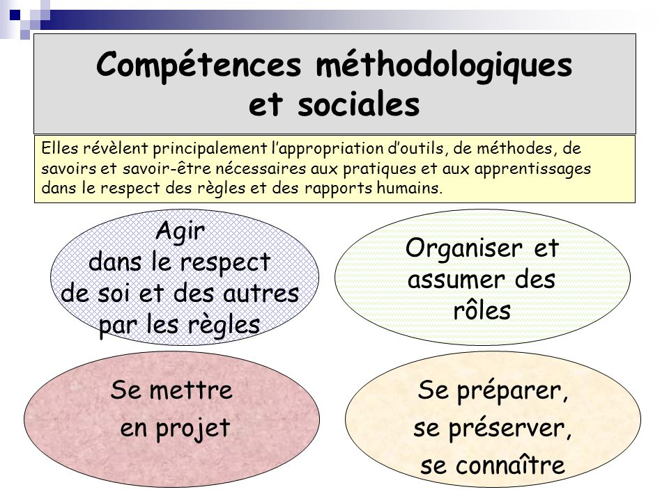 Compétences méthodologiques et sociales Agir dans le respect de soi et des autres par les règles Organiser et assumer des rôles Se mettre en projet Se
