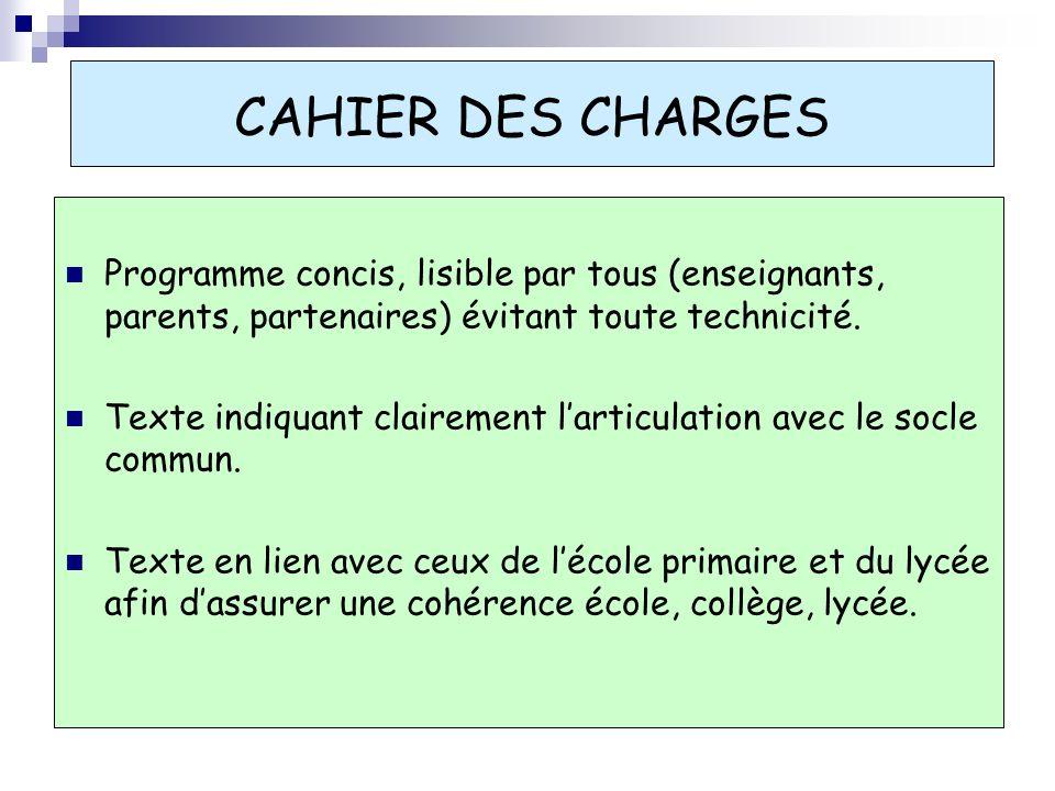 CAHIER DES CHARGES Programme concis, lisible par tous (enseignants, parents, partenaires) évitant toute technicité. Texte indiquant clairement larticu